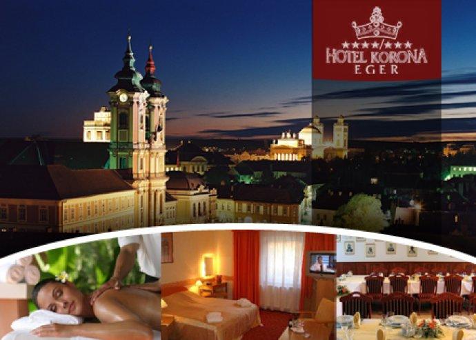 Hotel Korona Eger. 2 éjszaka szállás reggelivel, vacsorával, wellness használattal.