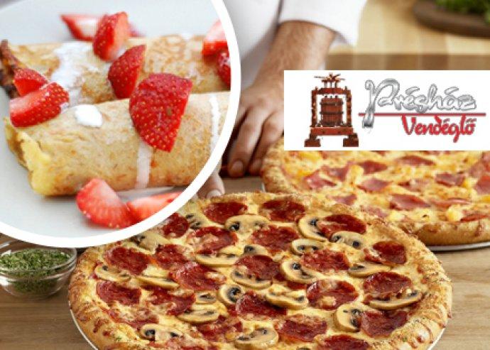 Két pizza (32cm) és két adag vaníliakrémes palacsinta eperraguval, fagylalttal a Présház Vendéglőben!