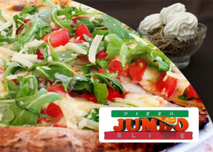 70 cm-es pizza és egy óriás gesztenyepüré a Jumbo Pizzától