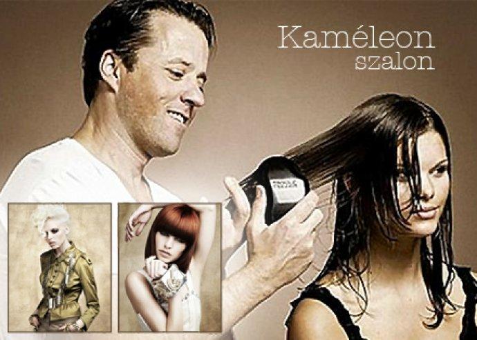 Női hajmosás + vágás + szárítás bármilyen hosszú hajra a Kaméleon Szalonban