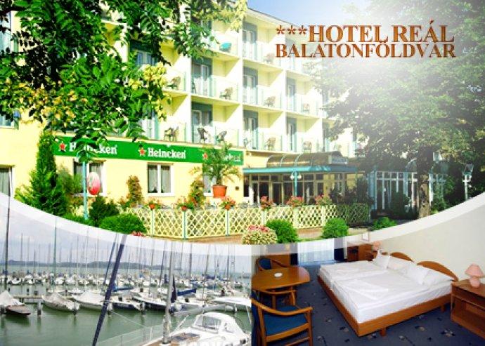 3 féle szállásajánlat Balatonföldváron 2 fő részére félpanzió, sétahajókázás és frissítő masszázs a Hotel Reál-ban