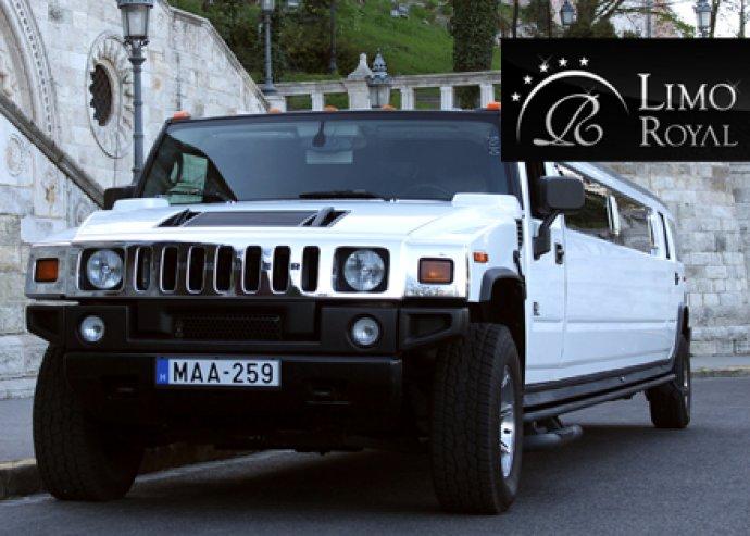 2 órás fehér Hummer H2-es limuzin bérlés 16 fő számára