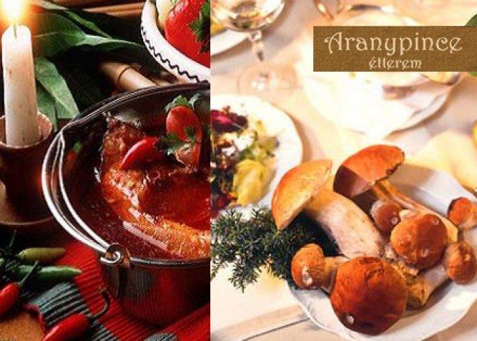 A la Carte ételfogyasztás 2 fő részére az Aranypince Étteremben