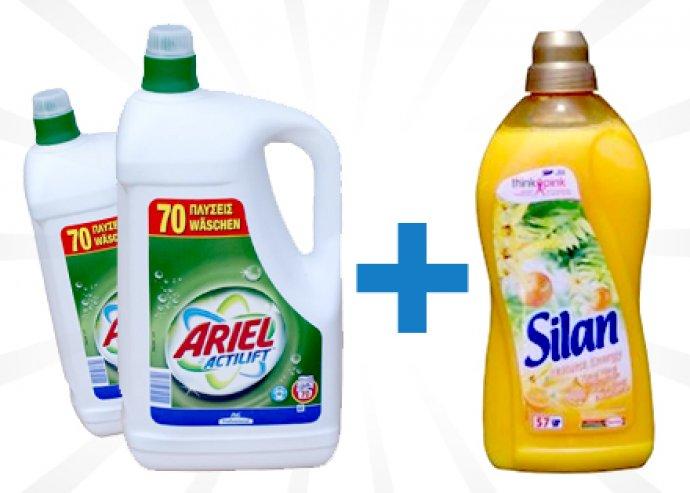 Ariel színes vagy fehér 2x4.9l-es folyékony mosószer+ 2l Silan öblítő koncentrátum