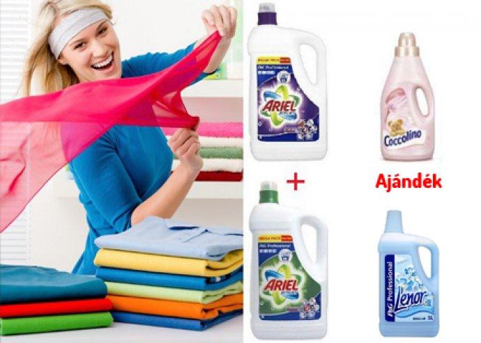 Ariel mosógél és Lenor vagy Coccolino öblítőszer színes és fehér ruhákhoz