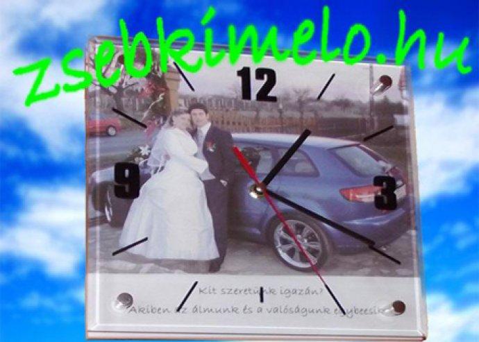 Exkluzív kattogás mentes falióra saját fotóval Valentin napra