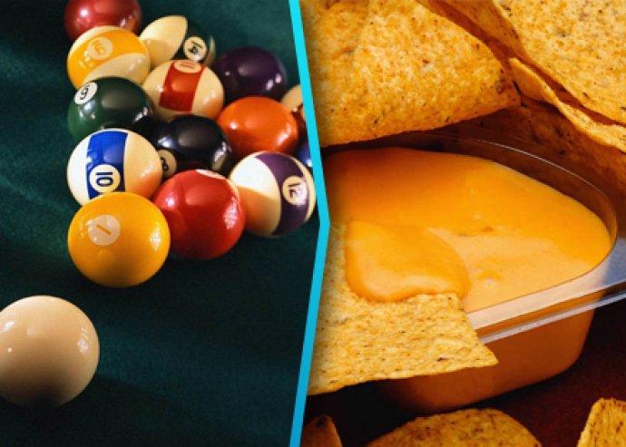 2 óra billiárd + 2 tál nachos salsa vagy sajt szósszal