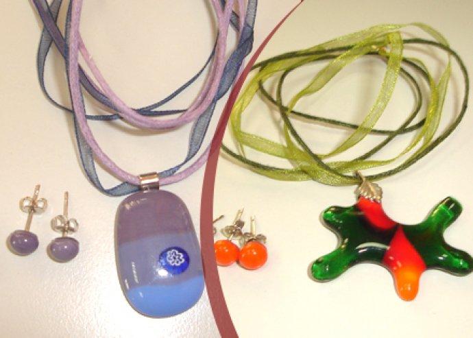 Anyák napi Muranoi üveg ékszerek - lánc és fülbevaló
