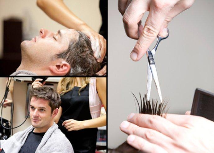 Férfi hajmosás, vágás és szárítás