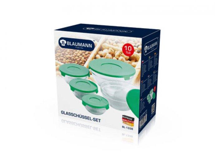 Kiváló minőségű, praktikus és dizájnos, 10 részes üveg tárolóedény szett, 4 különböző színben