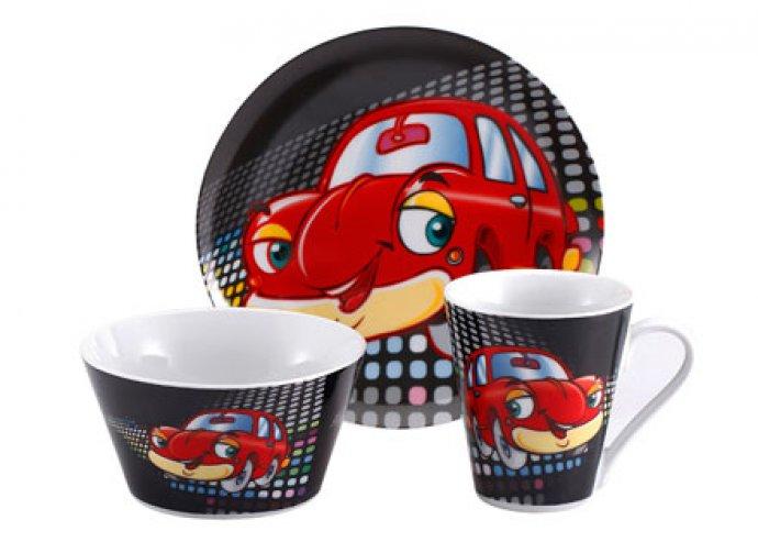 Igényes, kiváló minőségű, 3 részes porcelán reggeliző szett gyermekeknek, vidám mintákkal