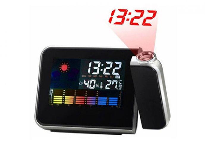 Digitális ébresztőóra projektorral, naptár, hőmérő és időjárásjelző funkciókkal!