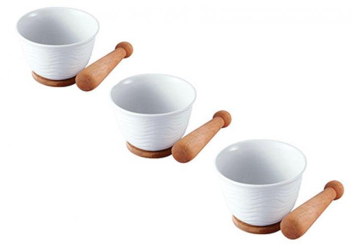 Porcelán-bambusz mozsár szett 10, 12 vagy 14 cm-es méretben
