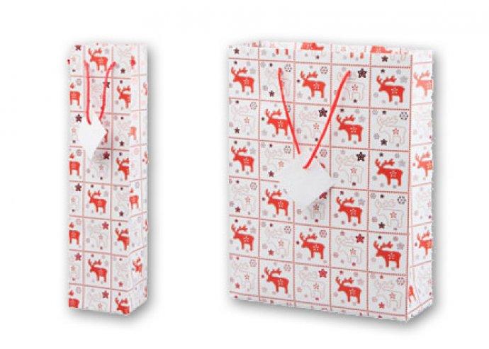 1 vagy 2 db Karkilla papír ajándékzacskó karácsonyi dekorációval és üdvözlő cédulával