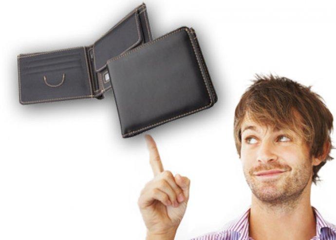Raven műbőr férfi pénztárca mikroszálas belsővel és bézs varrással