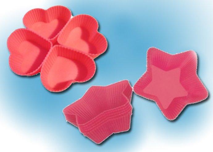 Csillag vagy szív alakú szilikonos sütőforma vagy szilikonos tojásfőző