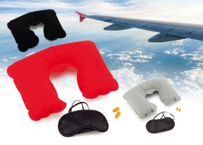 Plonet 3 részes utazó szett, nyakpárnával, szemtakaróval és füldugóval, 3 féle színben, hordtáskával