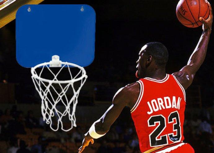 Jordan, tapadókoronggal rögzíthető, műanyag kosárlabda palánk hálóval és labdával