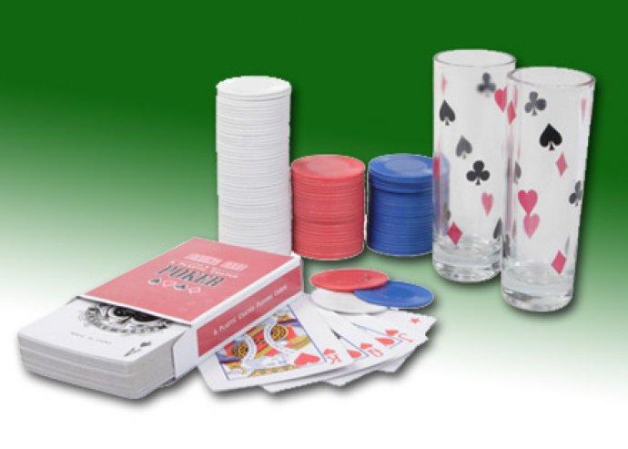 All in drink póker szett 100 db zsetonnal, 1 db kártyapaklival és 2 db mintás pohárral