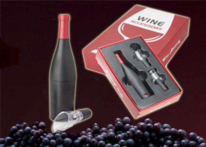 Elegáns, prémium 3 részes boros szett üvegnyitóval, kiöntővel és dugóval, ajándékdobozban