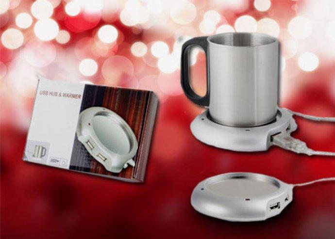 Ezüst színű, Tull USB-s pohármelegítő, 2 USB bemenettel