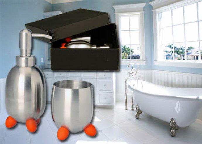 2 részes, stílusos és modern formájú, fém fürdőszobaszett, kézmosó adagolóval és pohárral