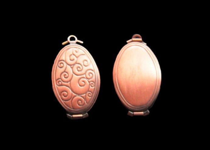 Könyv alakú vagy négybe csukható antikolt medál