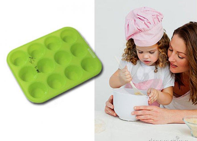 12 db-os szilikon mini muffin sütőforma, tapadásmentes, könnyen tisztítható
