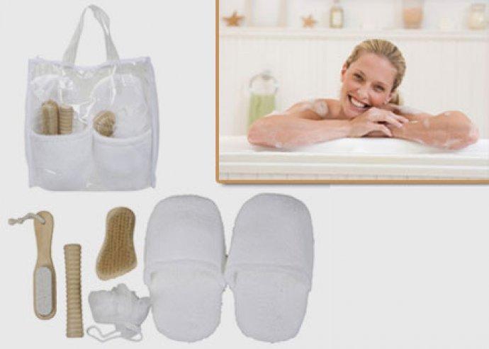 5 db-os Spa fürdő szett papuccsal, masszírozóval, fürdőszivaccsal, kefével és sarokreszelővel