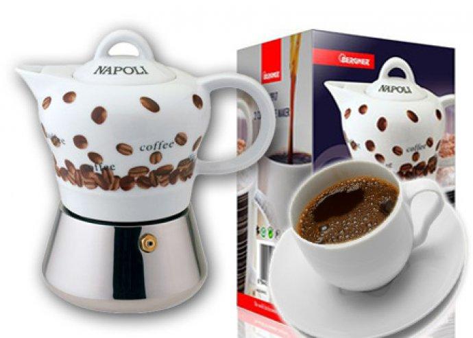 2 személyes kávéfőző szett kerámia felsőrésszel+szilikongyűrű