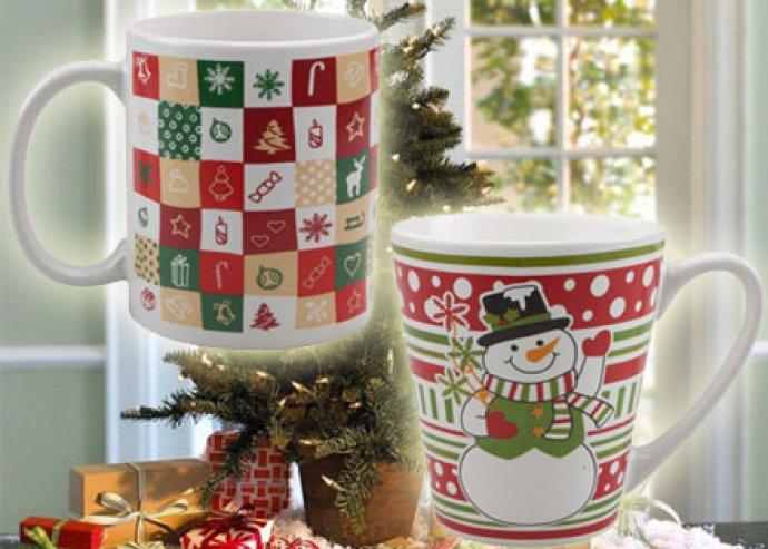 Fehér kerámia karácsonyi bögre