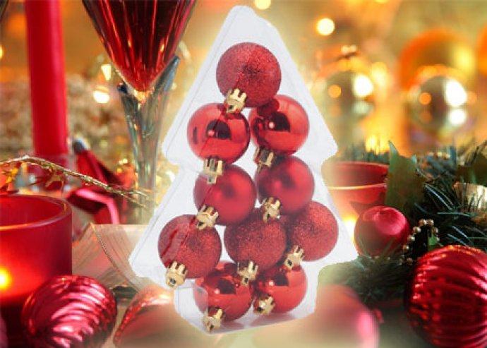 Karácsonyfadísz szett, áttetsző dobozban