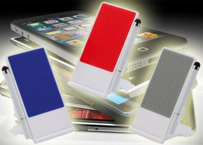 Összecsukható mobiltelefon tartó, érintőképernyős ceruzával, fehér színben