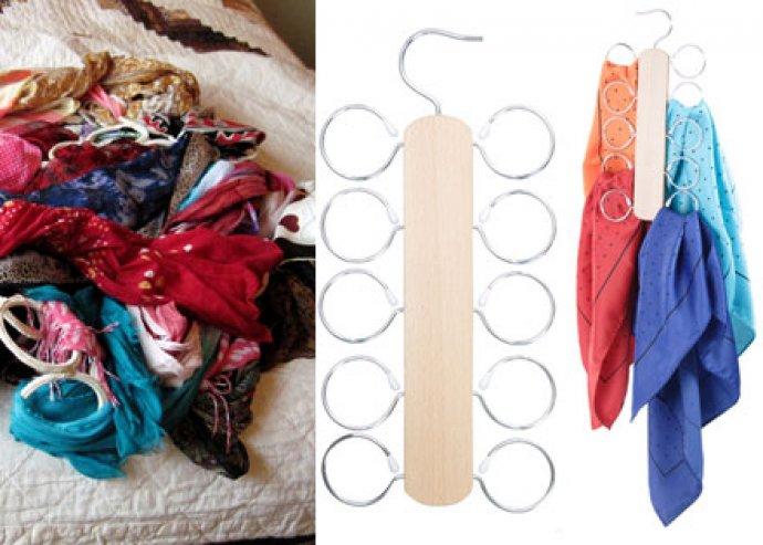 Nyakkendőtartó vagy sáltartó, a praktikus tárolás örömére