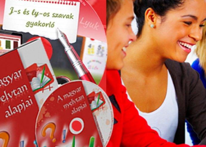 1 db magyar nyelvtan alapjai DVD, és 1 db, 200 játékos feladatot tartalmazó gyakorló CD