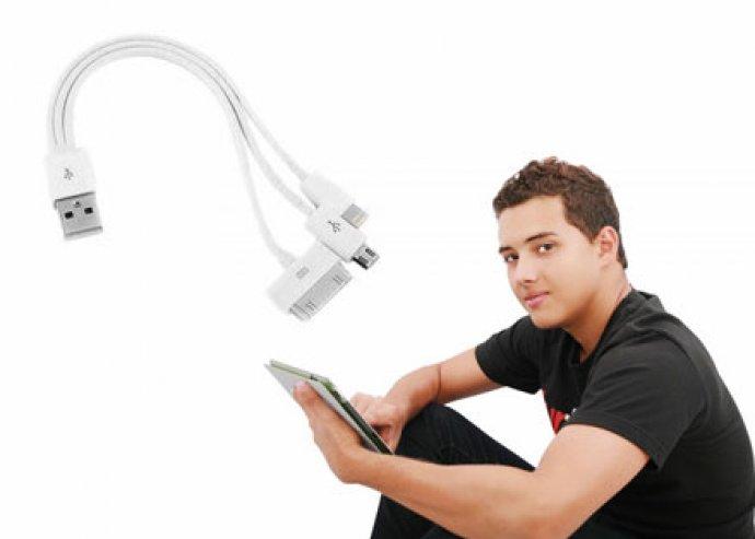 Univerzális, 3 az 1-ben multi töltő, USB-véggel, iPhone-hoz, iPodhoz, iPadhez és okostelefonokhoz