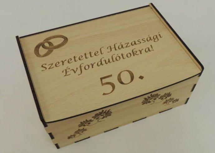 Stílusos, dizájnos, 1 részes, fa teás doboz, igény szerinti, teljesen egyedi gravírozással