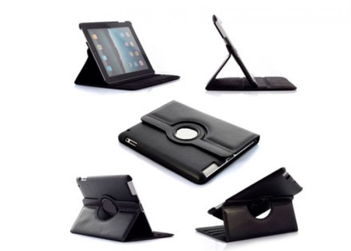 Dizájnos védelem  -  360 fokban forgatható, stílusos fekete iPad 2-3-4 tok