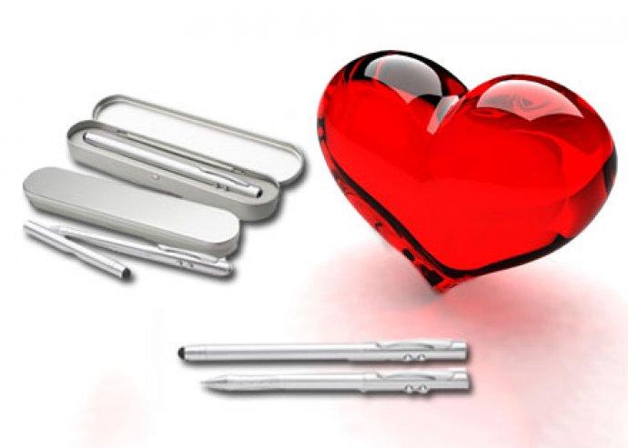 Prezi lézerpointer toll érintőképernyős véggel és LED lámpával fém díszdobozban