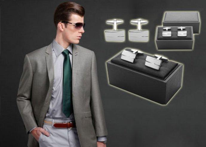 Stílus és design – 2 db Black Tie ezüst színű, fém mandzsetta gomb, elegáns, fekete díszdobozban