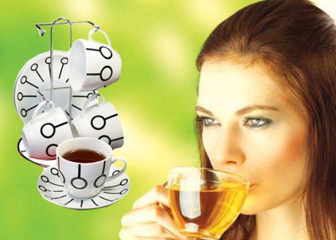 9 részes porcelán teás szett modern design-al, króm állvánnyal