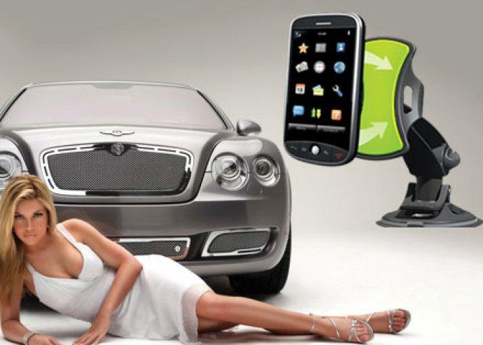 1 db korszerű, elegáns, forgatható, univerzális autós kütyütartó, 1 db tartalék öntapadós koronggal