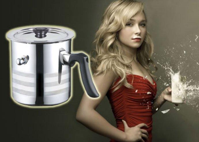 Elegáns, praktikus, kiváló minőségű, dupla falú, 1,5 l-es tejforraló fedővel, forrásjelző síppal