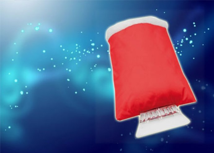 Autód hasznos téli tartozéka - műanyag jégkaparó poliészter kesztyűvel