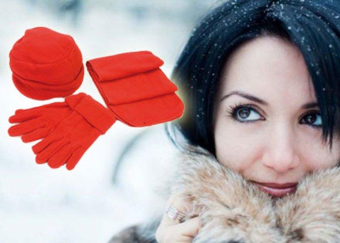 Divatos téli védelem - 3 részes polár szett sapkával, sállal és egy pár kesztyűvel, 4-féle színben