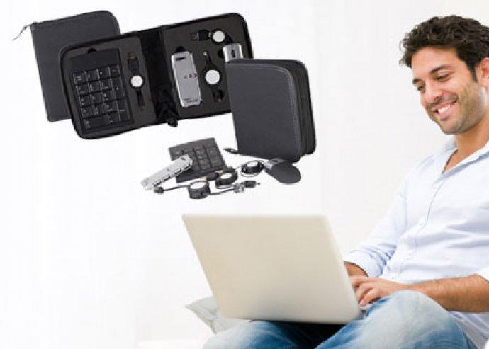 Hasznos notebook kiegészítő szett - optikai egér, USB-elosztó, numerikus pad, USB és UTP kábel