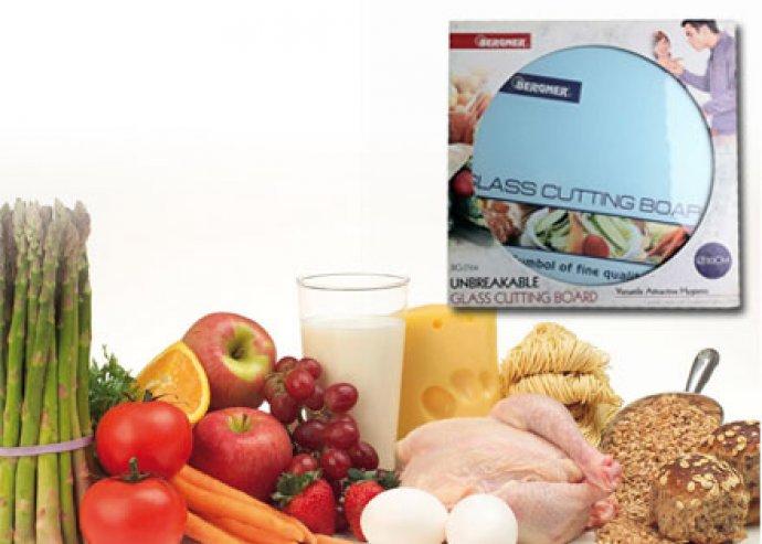 Stílus a konyhában - rendkívül strapabíró és higiénikus, 30 cm-es, kör alakú, edzett üveg vágólap