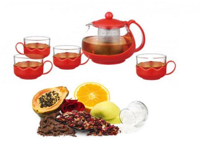 5 részes, kiváló minőségű, hőálló üvegből készült teás szett kancsóval, csészékkel, piros színben