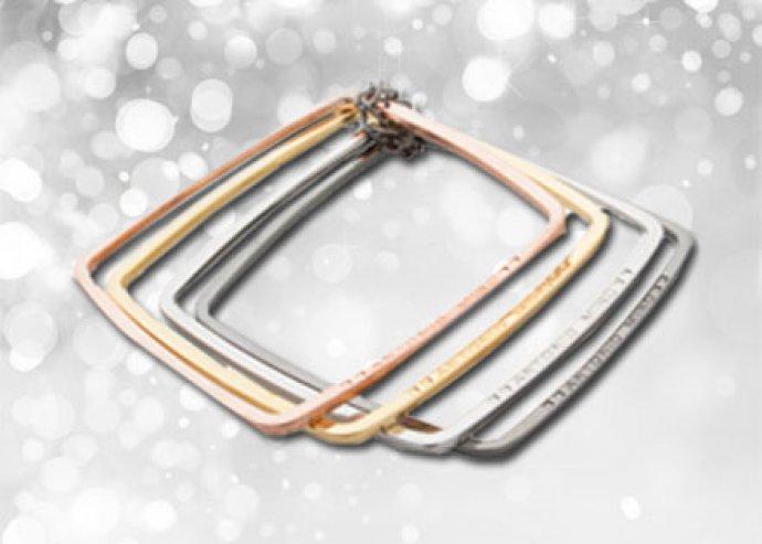 4 különböző színű, arany és ezüst árnyalatú, Antonio Miro fém karkötő, dísztasakban, akár Nőnapra