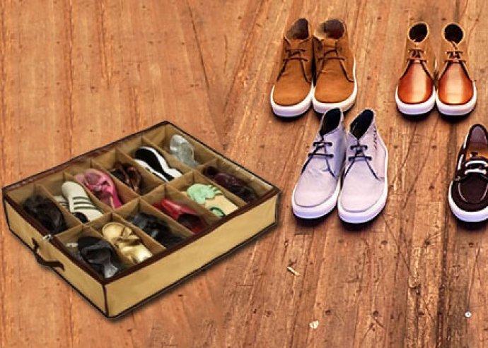 Praktikus rendteremtő - könnyen hordozható és áttekinthető, helytakarékos, 12 rekeszes cipőtároló